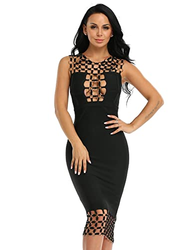 Hego Women's Circle Hollow Out Sleeveless Backless Sexy Bodycon Bandage Club Dresses H2123-1