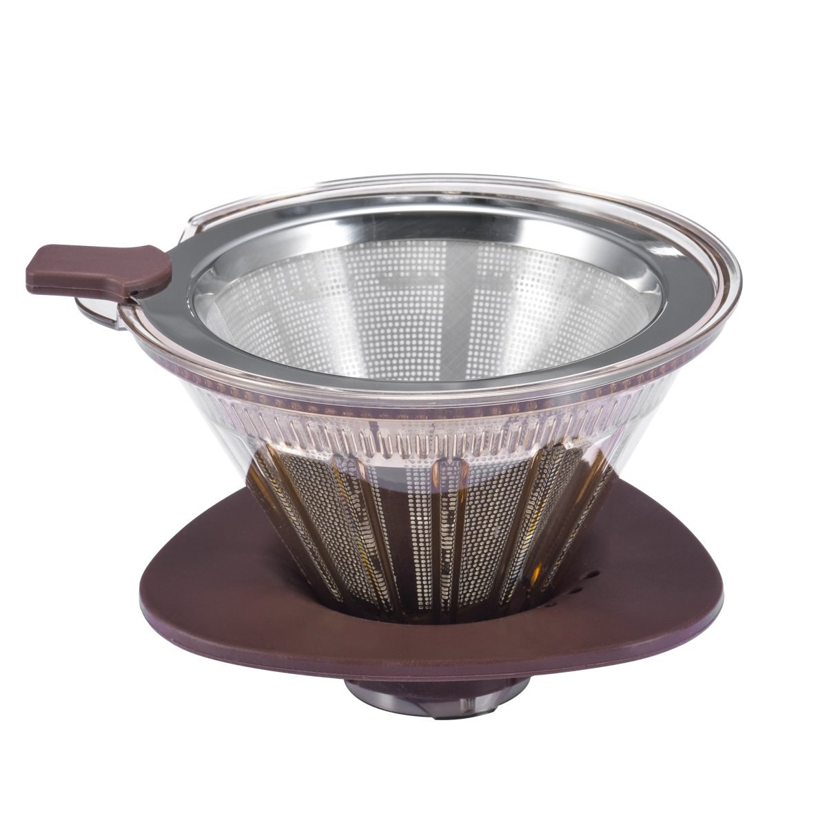 Clever Coffee Dripper, Double Mesh Reusable Coffee Filter with Shut-off Valve and Removable Cup Stand