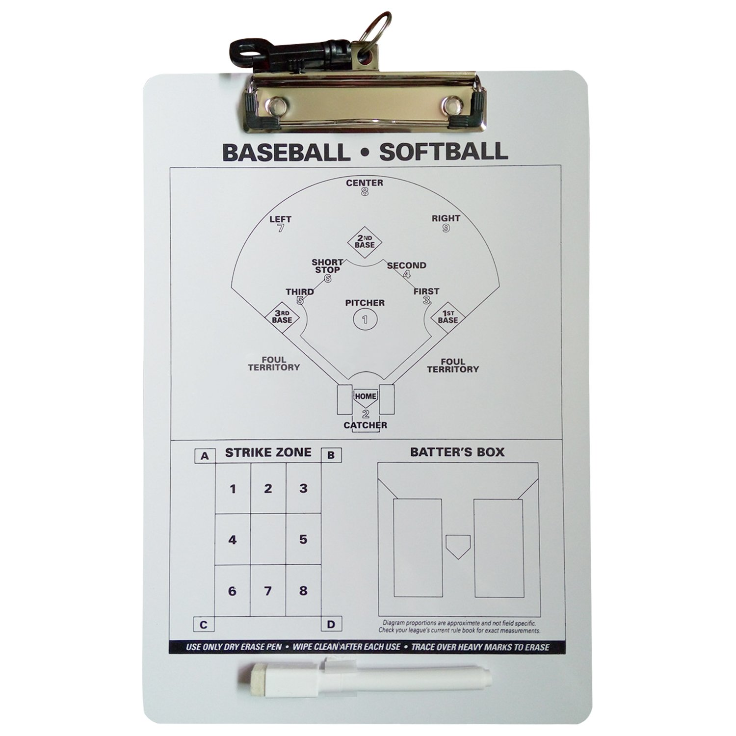Odowalker Baseball Clipboard Softball Lineup Board Coach Tactics Board Coach's Traning Aid Match Plan Strategy Notebook with Dry Erase Marker Pen Lamilla
