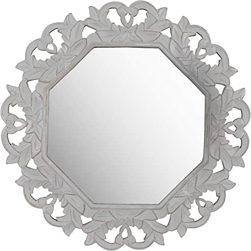 Fetco Home D cor Tull Grey Carved Mirror