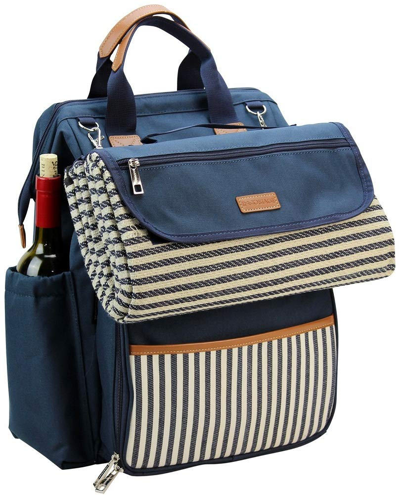 """INNO STAGE Wide Open Large Capacity Picnic Backpack for 4, with Insulated Cooler Compartment,9"""" Plates,Wooden Handle Cutlery and Waterproof Blanket Navy Blue"""