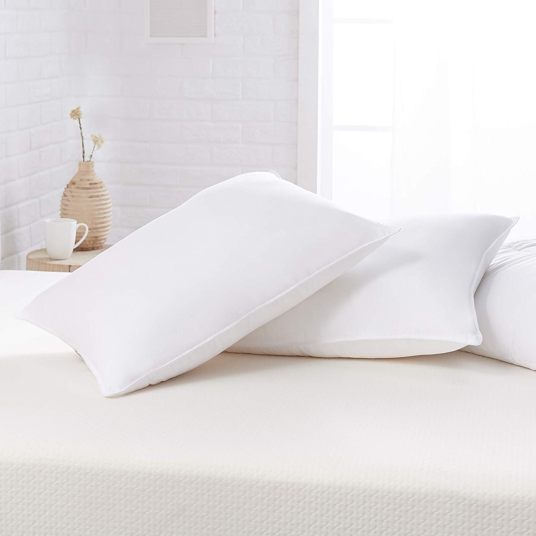 AmazonBasics Down Alternative Bed Pillows - Firm Density, Standard, 2-Pack