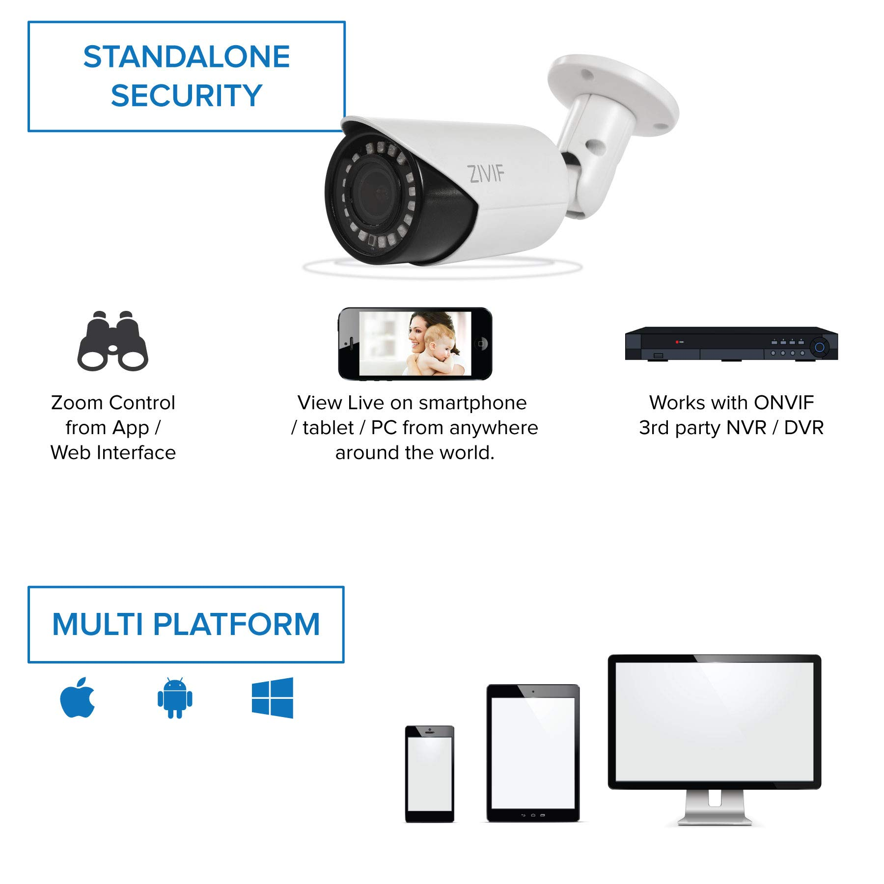 Zivif PoE Camera 4X Motorized Zoom - 1080P Bullet Outdoor Indoor IP Security Camera with Motion Detection & Night Vision