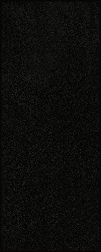 Home Queen Solid Color Custom Size Runner Area Rug Black, 3 x 6