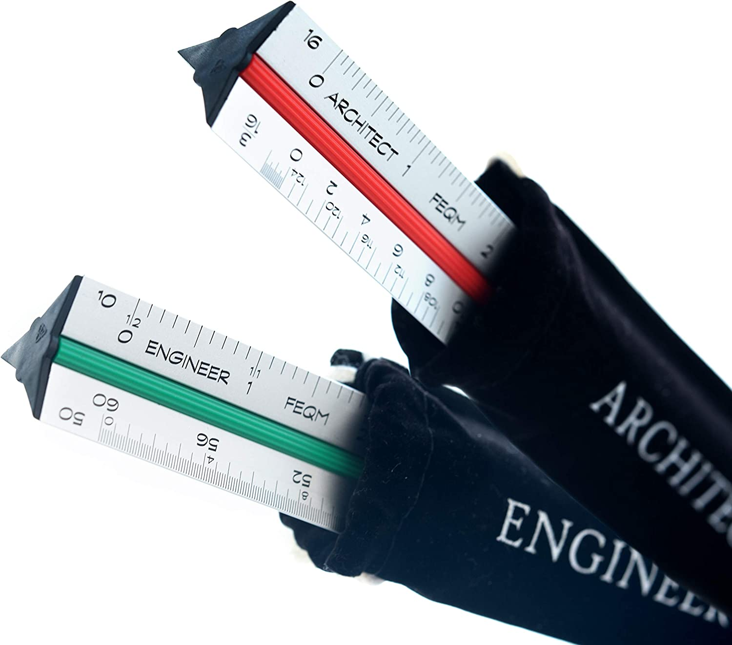 Architect (Imperial) Scale and Engineer Scale Set - Two UV Printed 12 Inch Hollow Aluminum Triangular Scale Rulers with Protective Sleeves