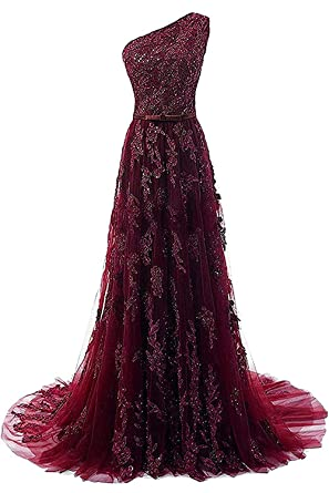 Shang Womens One Shoulder Lace Prom Dresses 2018 Long Evening Gowns Burgundy US 2