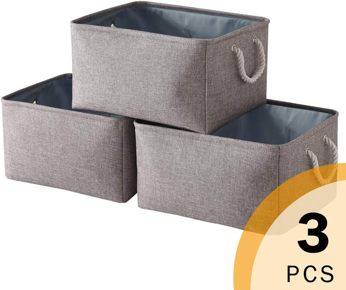 Sacyic Fabric Storage Baskets with Rope Handles, Rectangular Collapsible Baskets for Shelves, Large Baskets for Organizing Toys, Clothes, Shoes, Blankets, Books, Gift (Grey)