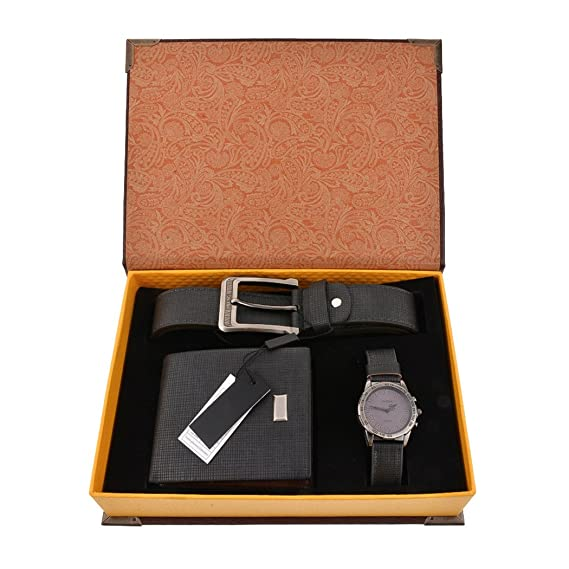 1e8fa4b8f6 Souarts, set con cintura, orologio da polso analogico di quarzo e  portafoglio in pelle artificiale da uomo, colore: blu scuro: Amazon.it:  Orologi