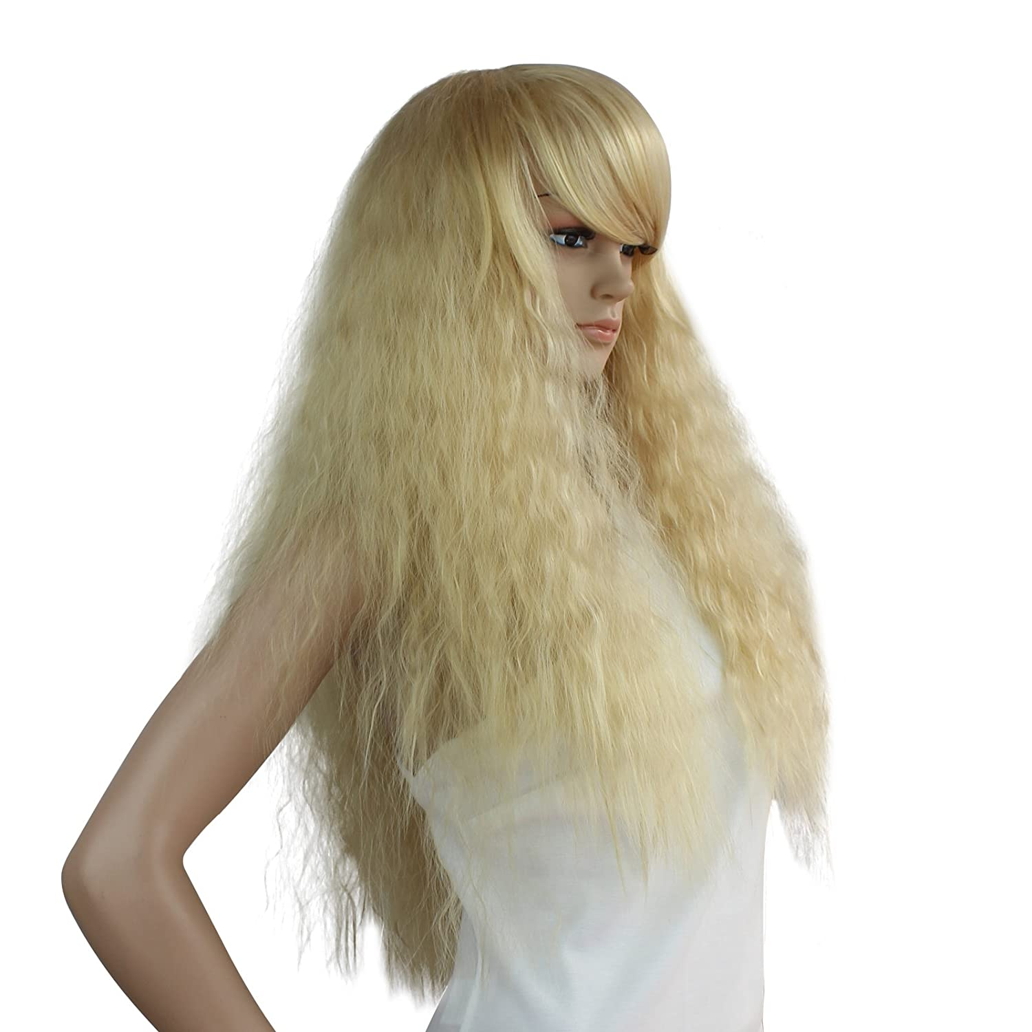 Amazon.com: eNilecor Long Curly Fluffy Healthy Full Wigs with Bangs for Women Synthetic Colorful Wig Party Costume Cosplay Wigs (Blonde): Beauty