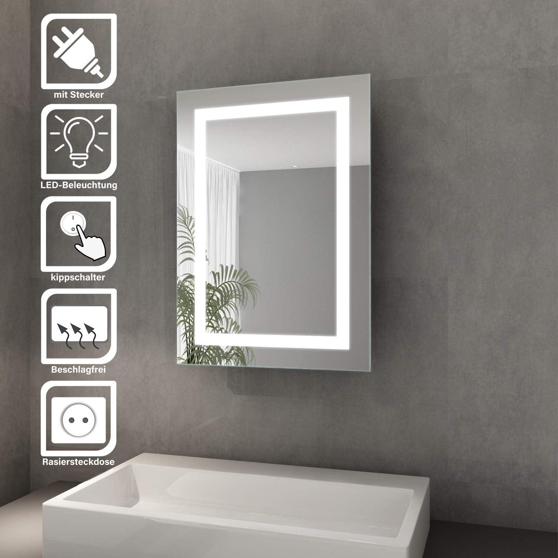 Elegant Bad Spiegelschrank mit Beleuchtung Schiebetür LED Licht  Spiegelschrank Badezimmer Hängeschrank mit Steckdose und Kippschalter 9 x  9 cm