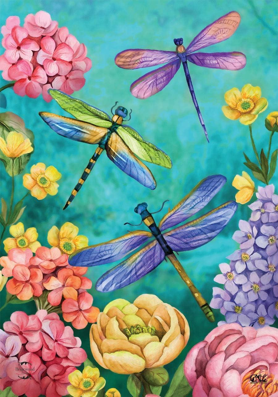 Briarwood Lane Dragonfly Garden Spring Garden Flag Floral 12.5