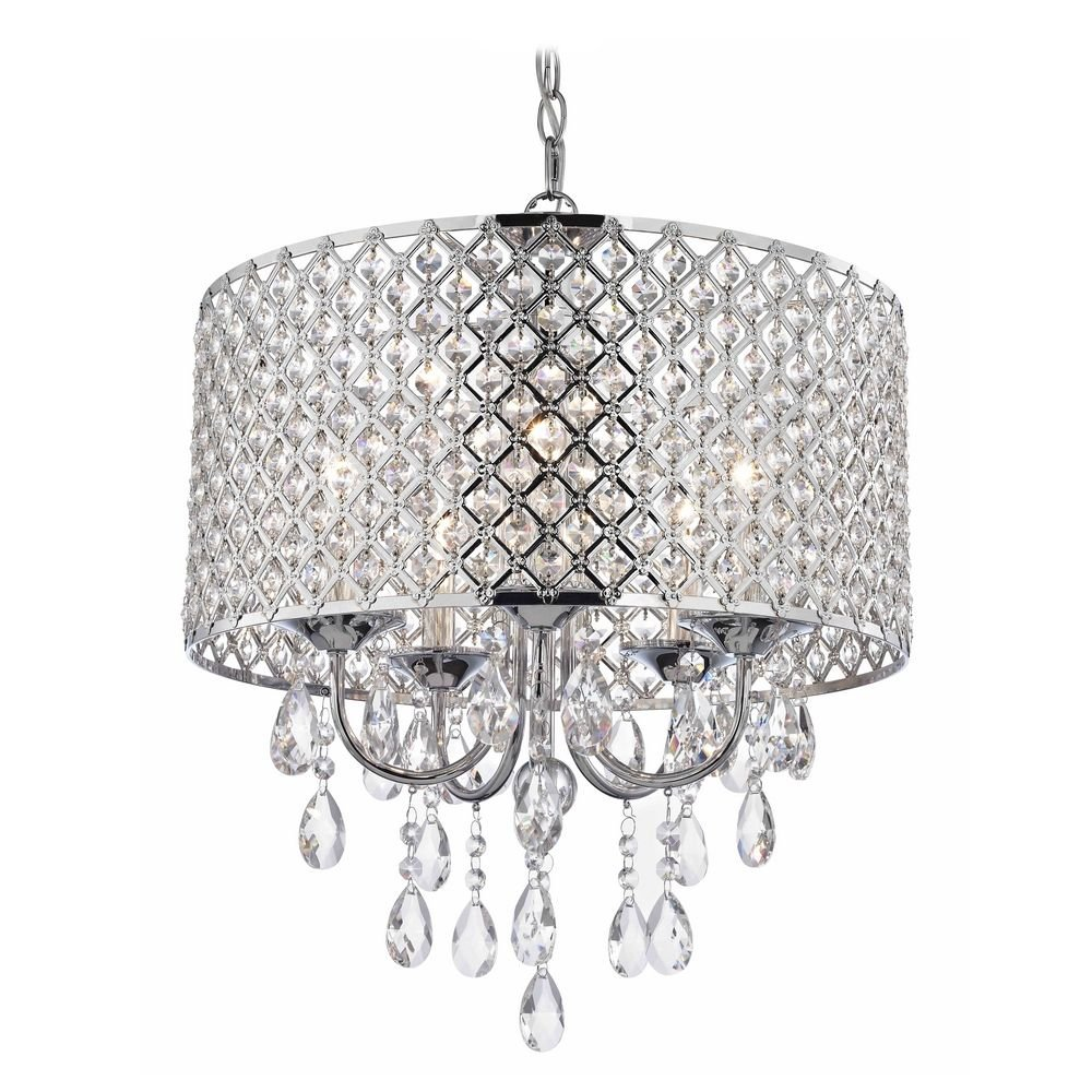 crystal chrome chandelier pendant light with crystal beaded drum shade ceiling pendant fixtures amazoncom
