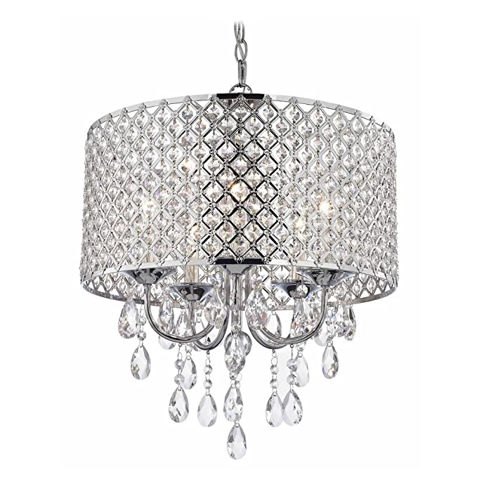 Crystal Chrome Chandelier Pendant Light With Beaded Drum Shade Ceiling Fixtures Com