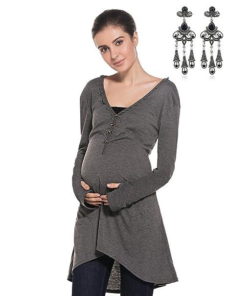 MODETREND Premamá Suelto Vestidos de Manga Larga V-cuello Asimétrico Vestido Otoño Invierno Mama Embarazo Vestido de Maternidad: Amazon.es: Ropa y ...