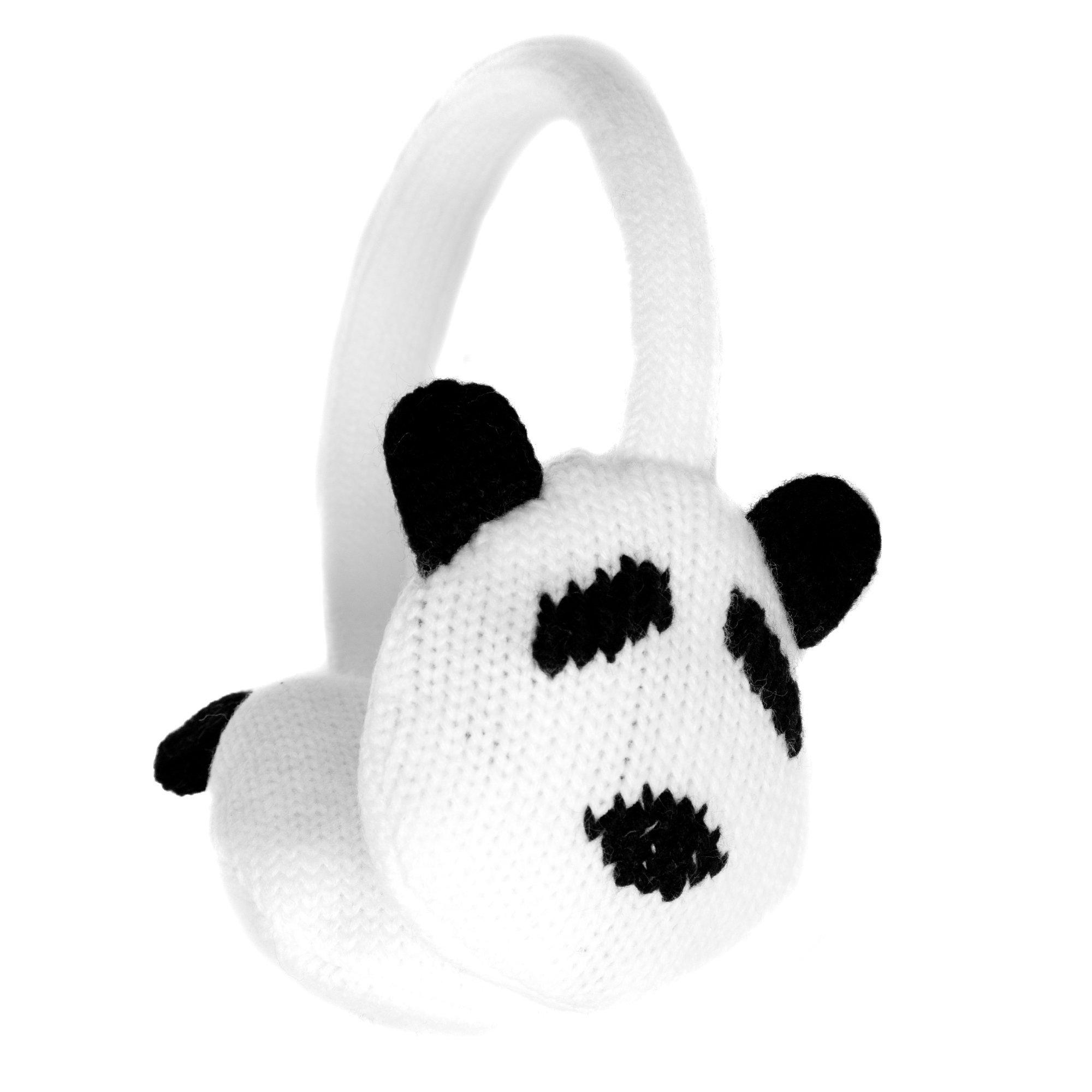 Accessoryo Women's Cute Panda Style Winter Thermal Fashion Earmuffs One Size Black and White