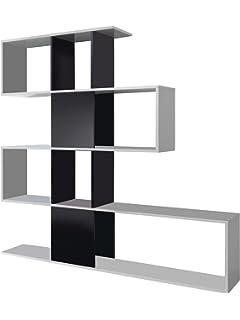 habitdesign 1t2251bo estanteria zig zag acabado blanco brillo y negro brillo medidas 145 - Estanteria Moderna