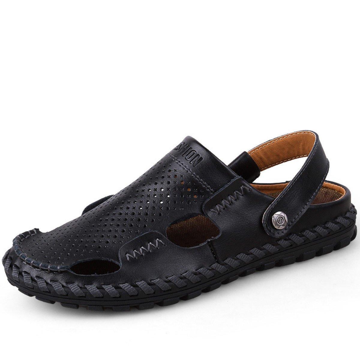 LXXAMens Verano Playa De Secado Rápido Zapatos Al Aire Libre Cuero Real Zapatos De Trekking,Black-40EU 40EU|Black