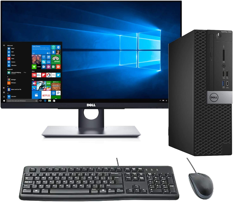 "Dell OptiPlex 7050 SFF Computer System w/ 24"" P241HT Touchscreen Monitor, Intel i7-6700 up to 4.0GHz, 16GB RAM, 512GB NVMe M.2 + 2TB, Intel HD 530 Graphics, USB 3.1, USB Type-C, Win 10 Pro (Renewed)"