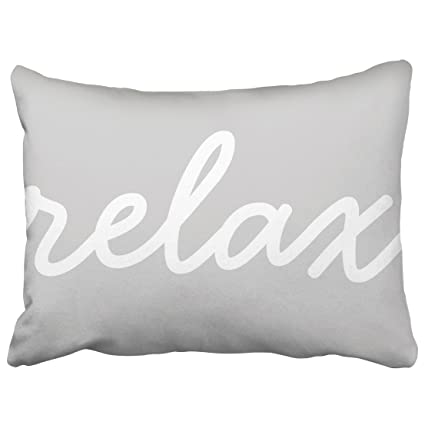 Amazon Capsceoll Relax Gray White Script Lumbar Pillow Quote Best Relax Decorative Pillow