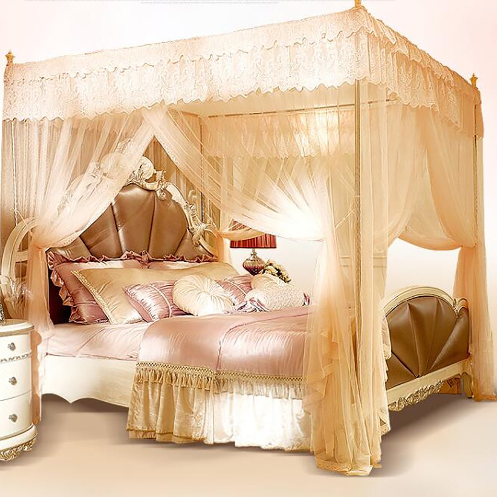 Violet encryption thickened palace mosquito nets, Stainless steel frame Double Residential bed canopy-C King