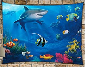 "KRWHTS New Shark Sea Mandala Tapestry Wall Hanging, Wall Art, Dorm Décor Beach Throw150130cm(60"" 52"")"