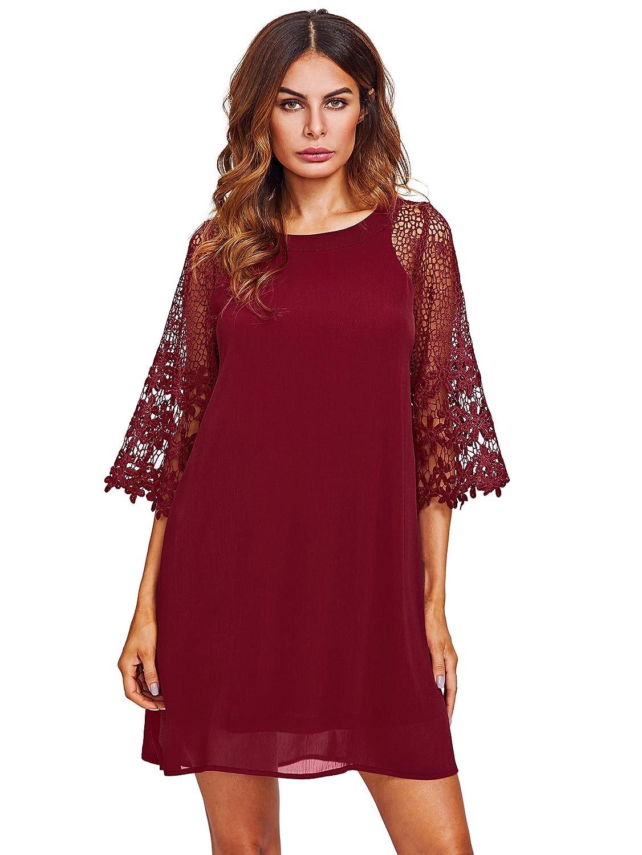 de la para Vestido manga cuello media túnica tienda ropa gasa de en y Amazon de de con Makemechic de mujeres redondo verano dxqFxa