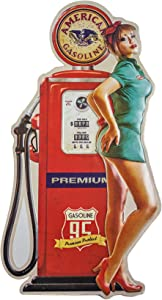 "Vintage American Gasoline Gas Pump Pinup Girl Shaped & Embossed Metal Wall Decor Sign, Heavy Gauge .35mm Iron, Sawtooth Hanger On Back for Displaying, 22.5"" x 12.25"""