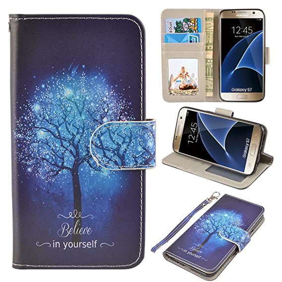 sports shoes 1a68c 78a23 S7 Case, UrSpeedtekLive Galaxy S7 Wallet Case, Premium PU Leather Wristlet  Flip Case Cover with Card Slots & Stand for Samsung Galaxy S7, Believe in  ...