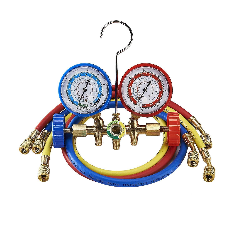 WonVon AC Diagnostic Manifold Gauge Set for R134A R12, R22, R502 Refrigerants