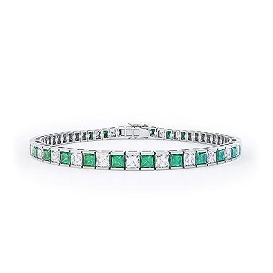 Princess Emerald and Diamond Silver Tennis Bracelet (WHITE GOLD) ulAnrsq