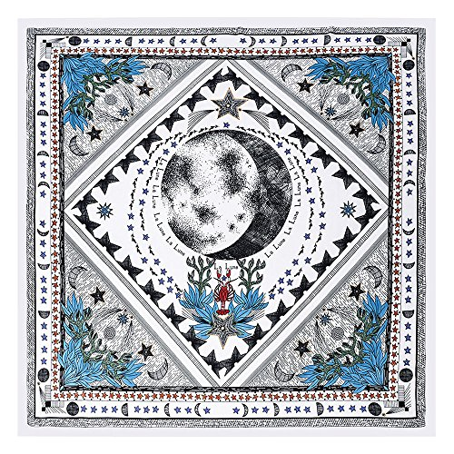 BEEYA Womens Abstract Style Tarot Pattern Silk Scarf for Hair Moon Print Square Neckerchief Headscarf 28x28 Inch