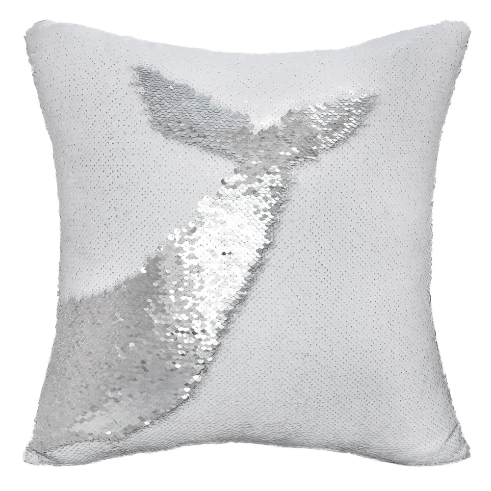 Basumee Mermaid Sequin Pillow with Insert, 16''x16'' Magic Reversible Sequins Cushion for Home Décor (Sliver/White)