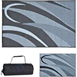 Stylish Camping Ming's Mark GA1 Reversible Graphic Patio Mat - 8' x 12', Black/Silver