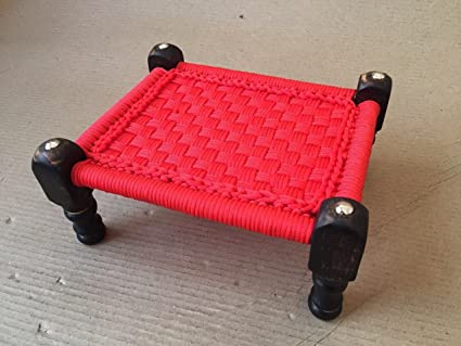 Pleasant Dcore Crafts Wooden Bajot Chowki Chair Rustic Chair Of Red Plastic Threads Wooden Khatli Pira Table Stool Charpai Size 9 X 8 X 4 Inches Dailytribune Chair Design For Home Dailytribuneorg