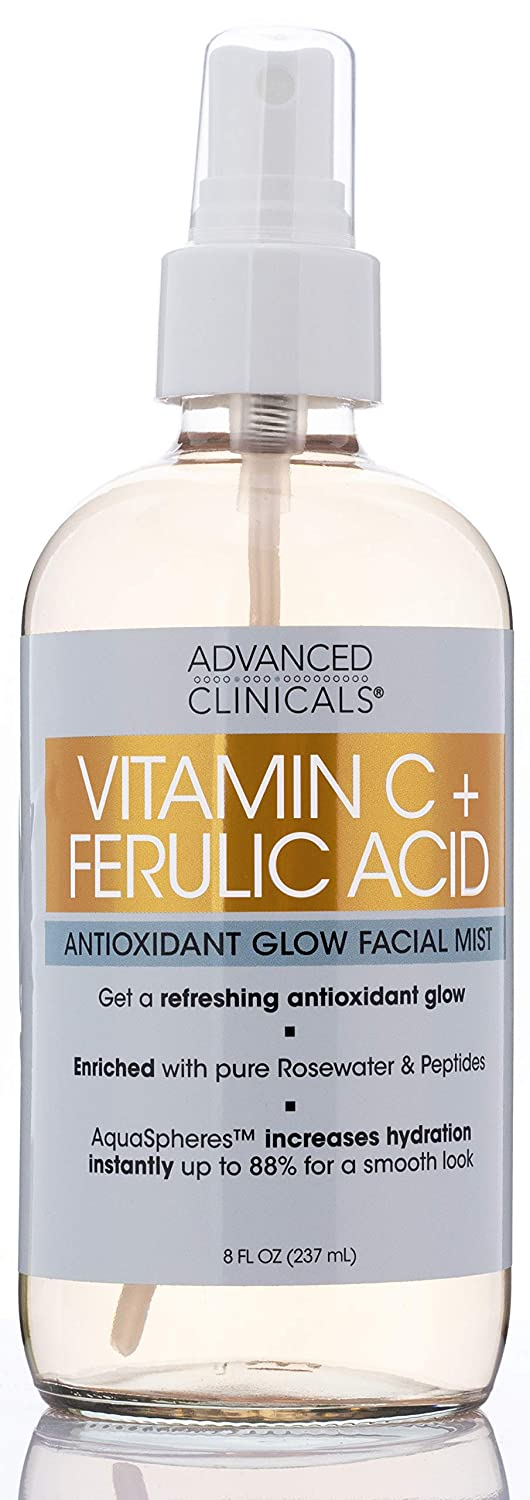 Vitamin C + Ferulic Acid Antioxidant Glow Face Mist Spray Skin Refreshing, Hydrating, and Non-Greasy Facial Toner Spray for Instant Hydration with Pure Rosewater by Advanced Clinicals, 8 oz.