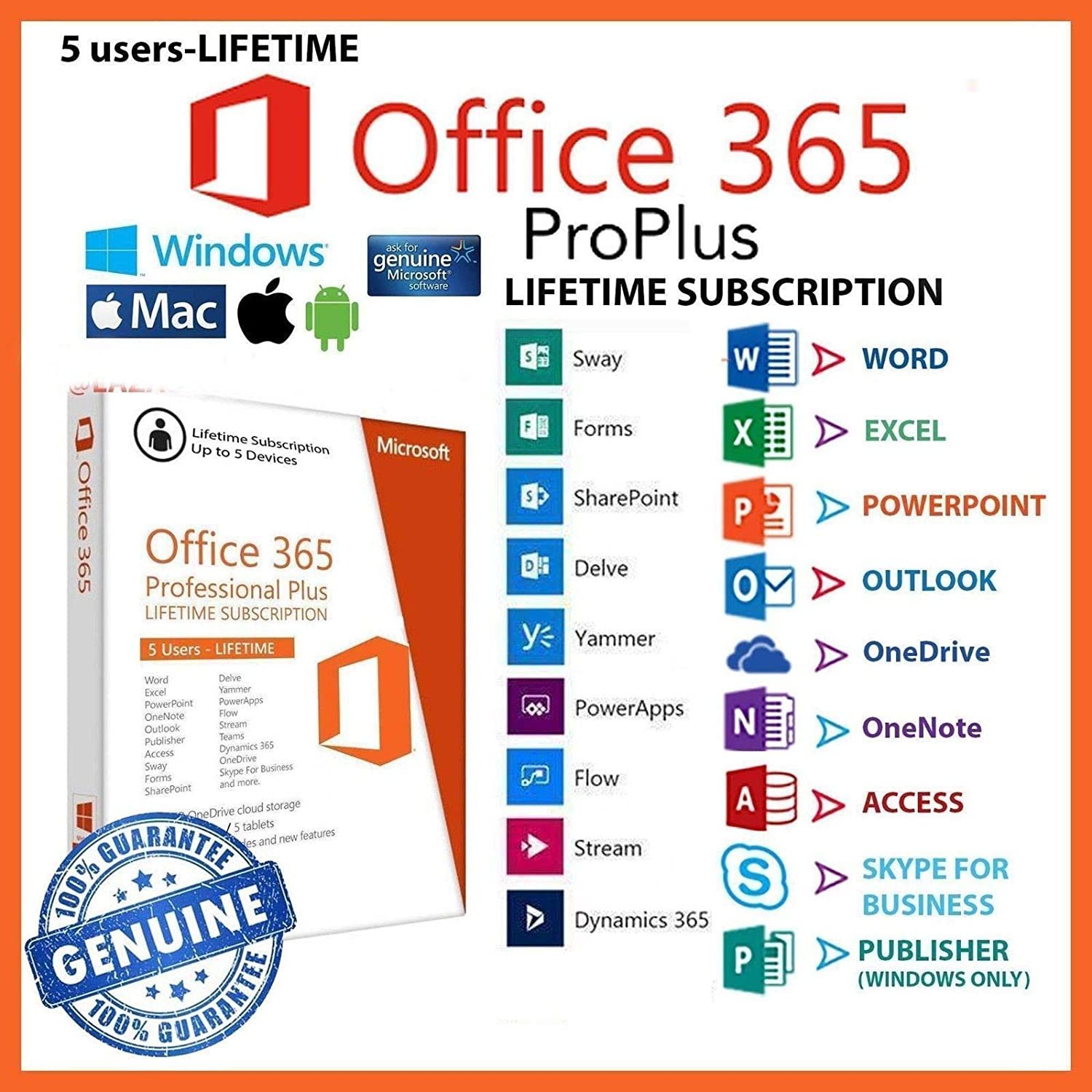 Microsoft Office 365, Lifetime Subscription, 5 Devices + 5TB OneDrive (Windows/Mac) (NO DISK)