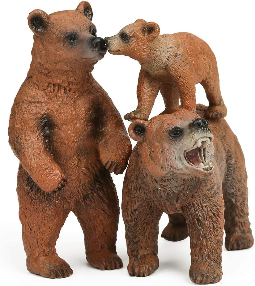 Grizzly Bear Toy Figurines Set, Brown bears figures Woodland Bear Cake Toppers
