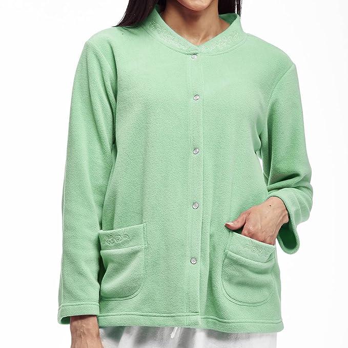 83a9bc2cc0002 La Cera Women s Plus-Size Snap Front Fleece Bed Jacket  Amazon.ca  Clothing    Accessories