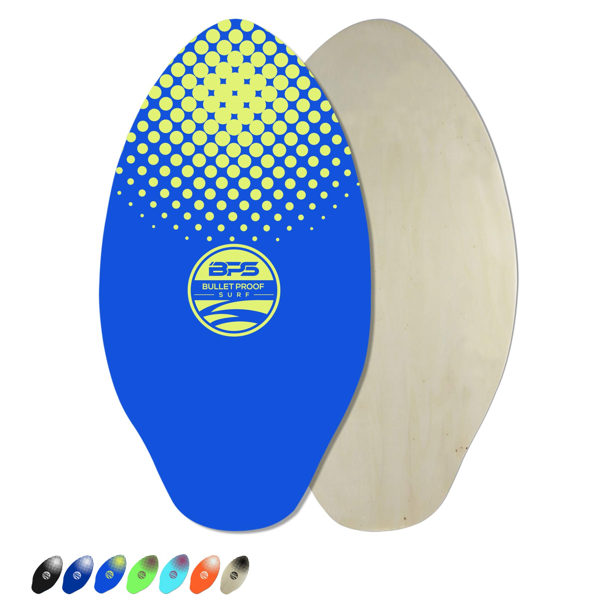BPS 30 Inch Skimboard with Epoxy Coating - Wood Skimboard for Beach or Flatland - Skimboard for Kids and Adults - Board for Skimboarding (Blue with Yellow Accent) by BPS