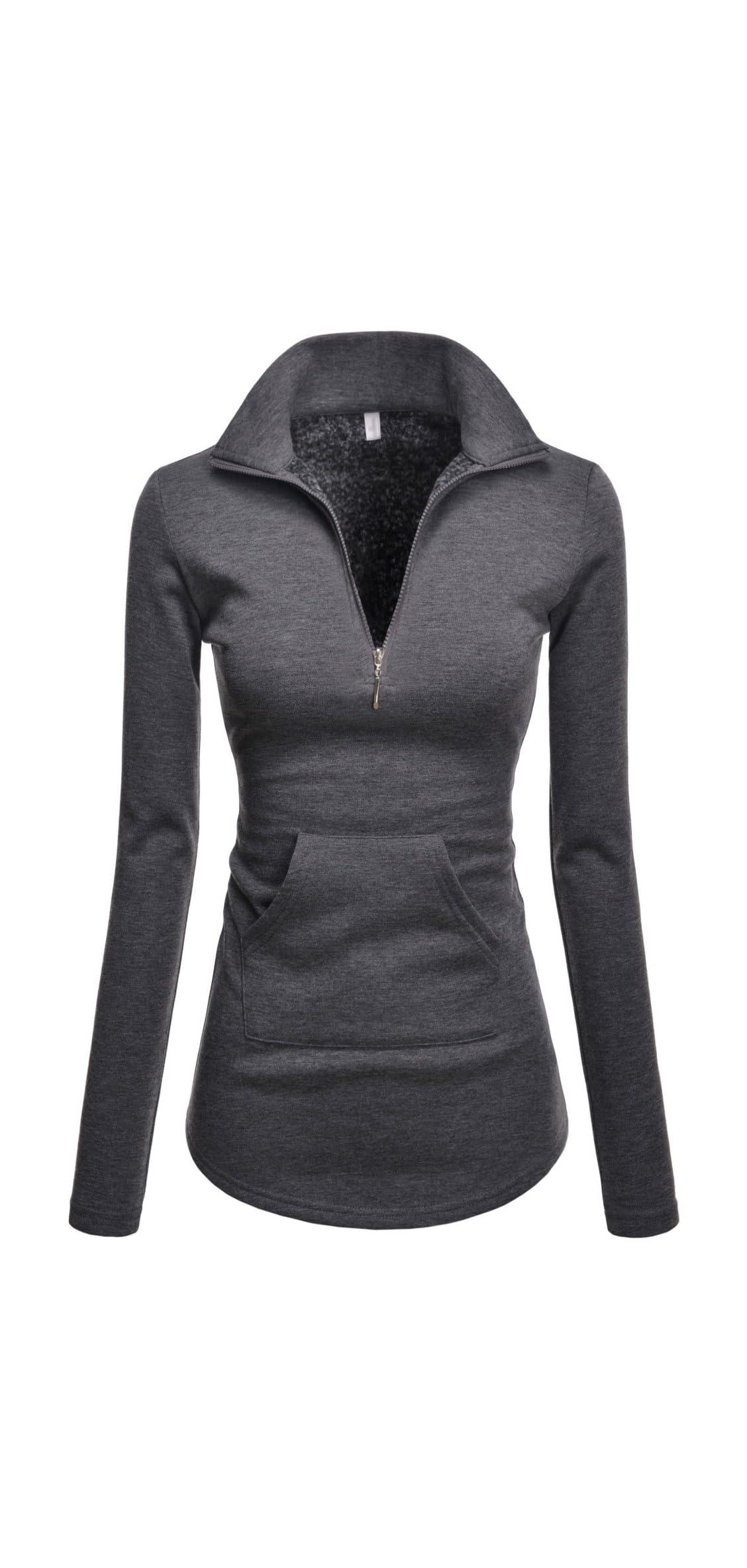 Women Long Sleeve Turtleneck Pullover Zip Active T Shirt