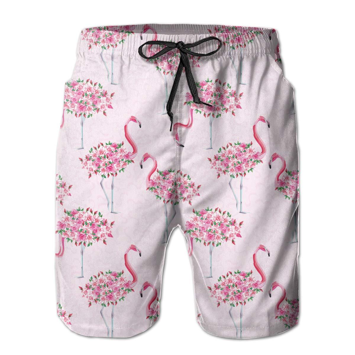UHT28DG Pink Flamingo Roses Flowers Pattern Mens Beach Shorts Quick Dry Bathing Suit