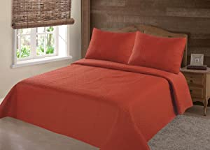 GorgeousHomeLinen (NENA) Orange Brick Solid Hypoallergenic Quilt Bedspread Bed Bedding Coverlets Cover Set with Pillow Cases Size inc: Twin (2pc) Full Queen King (3pc) (Twin)