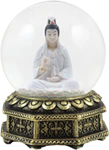 """Ebros Eastern Enlightenment Buddha Meditating Goddess Kuan Yin Water Globe Collectible Figurine 6"""" Tall Deity of Mercy and Compassion Guanyin in White Robe"""