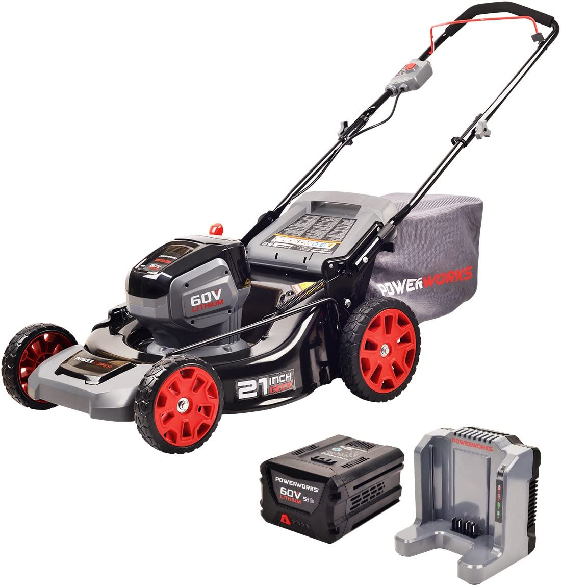 POWERWORKS 60V 21-inch Brushless HP Mower, 5Ah Battery and Charger Included MO60L513PW