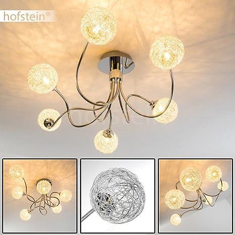 Lámpara de techo Palmer brazos ajustables - 6x G9 28W Pantallas malla de alambre - Lámpara de araña salón dormitorio