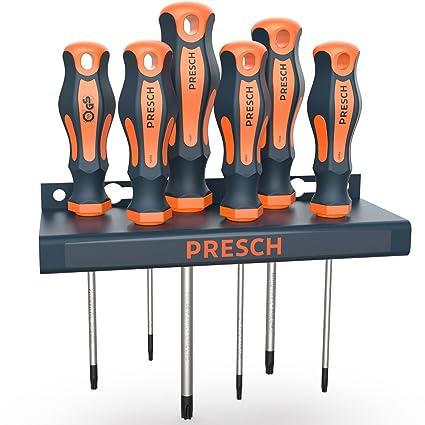 Presch juego 6 destornilladores TX con soporte de pared y ensayo GS TÜV - con soporte para guardar - profesional