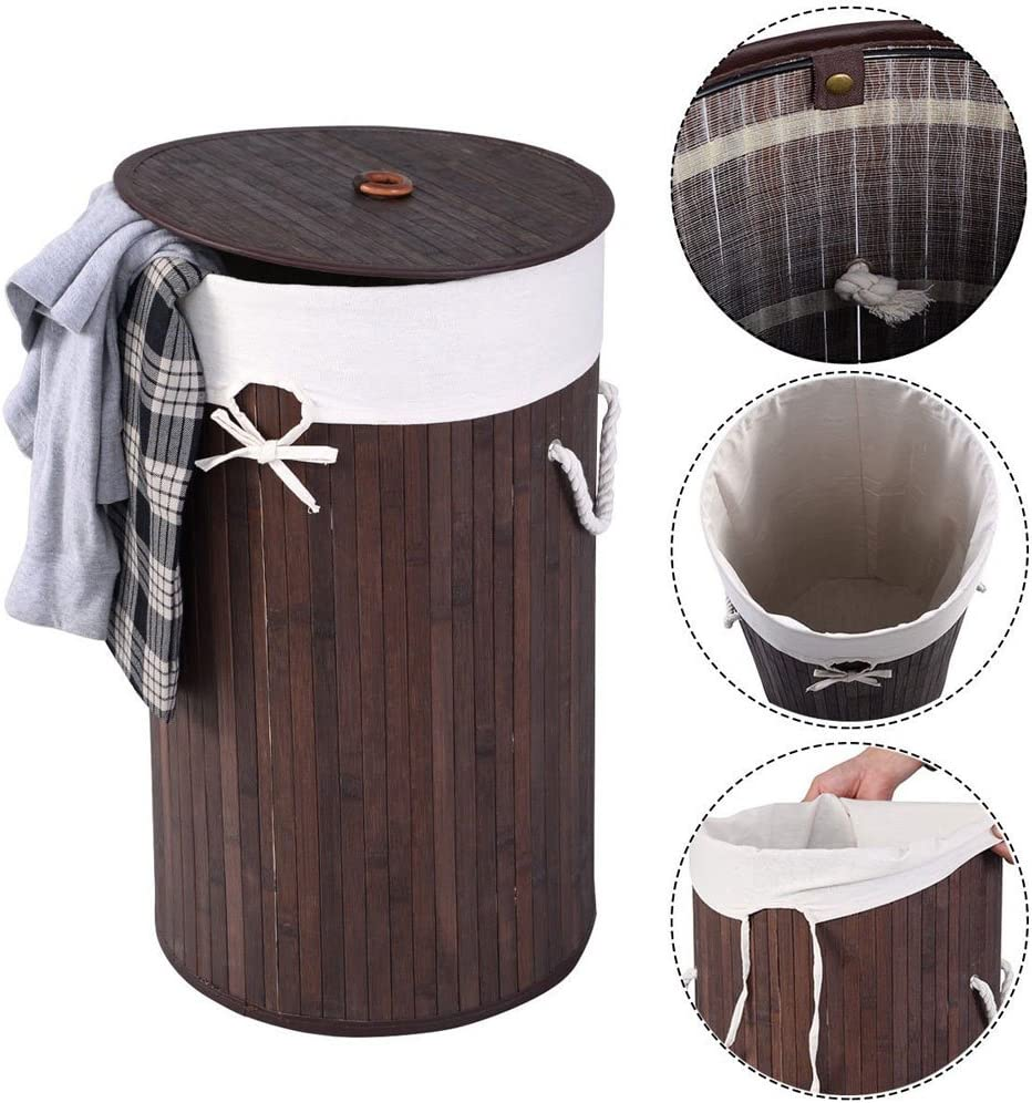 Luluman Bamboo Laundry Hamper Barrel Type Bamboo Folding Basket Round Laundry Hamper with Lid and Cloth Liner Damp Proof, dustproof and Easy to Clean (Dark Brown)
