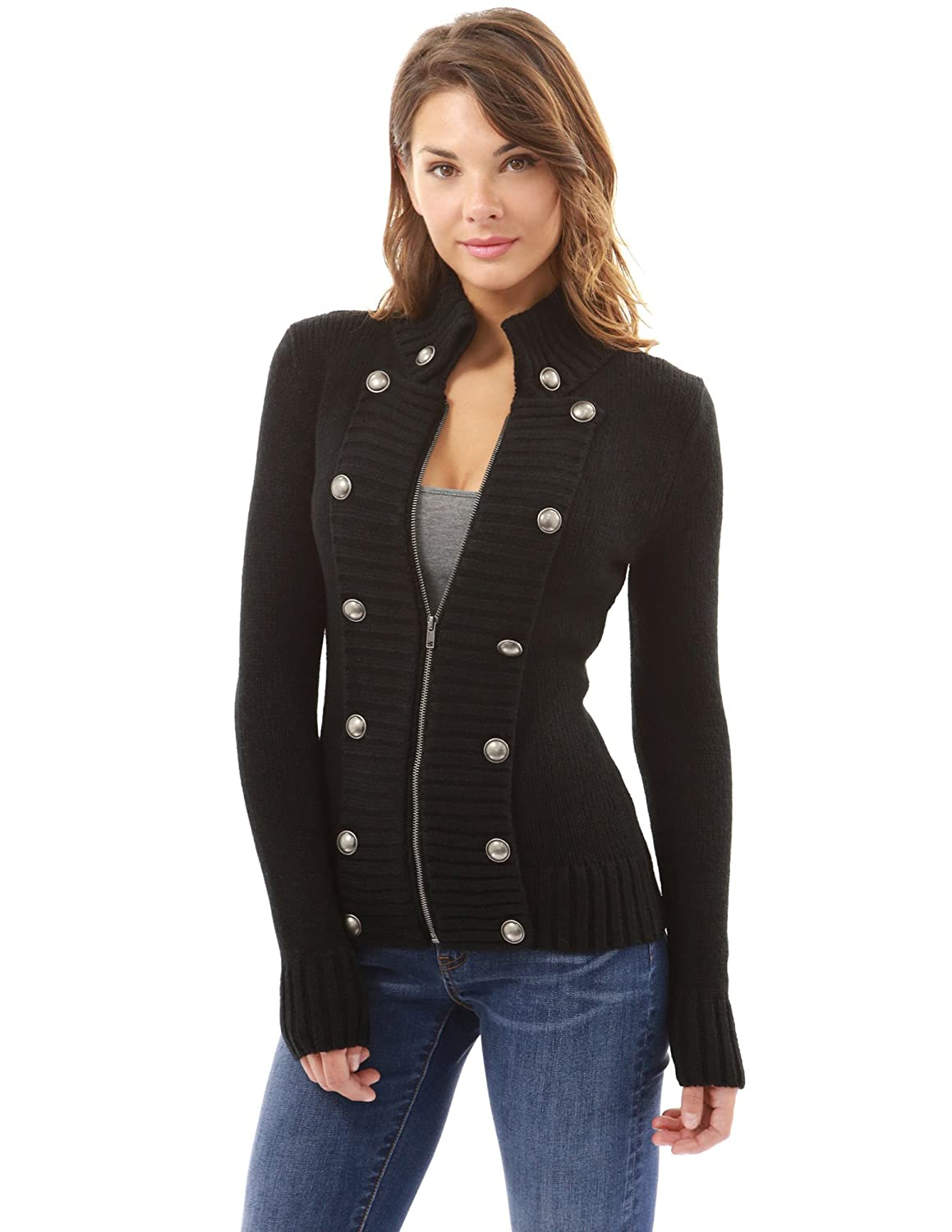 PattyBoutik Women Military Mock Neck Zip Up Cardigan