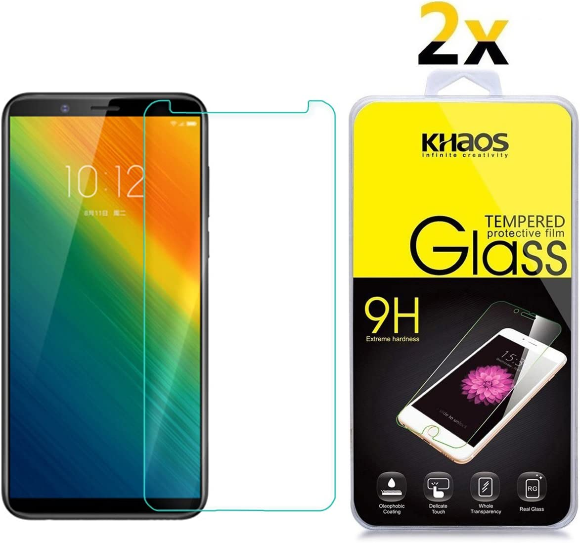 [2 Pack] Screen Protector for Lenovo K5 Note 2018, KHAOS Tempered Glass Screen Protector Ultra Clear Scratch Resistant for Lenovo K5 Note (2018)
