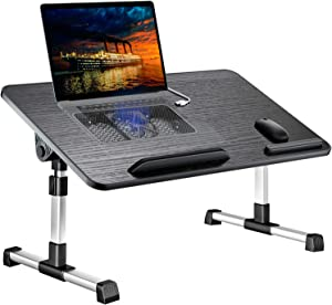 Laptop Desk for Bed,LEEHEE Adjustable Lap Bed Tray Folding Table Lap Stand with Internal USB Cooling Fan, Standing Desk for Home Office Working Gaming Writing, Fits for 17